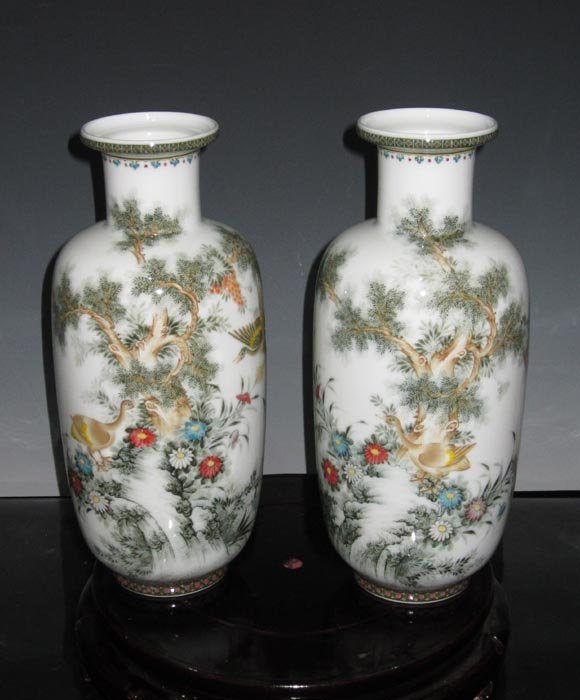 Pair Fine Old and Artist Work Famille Rose Porcelain