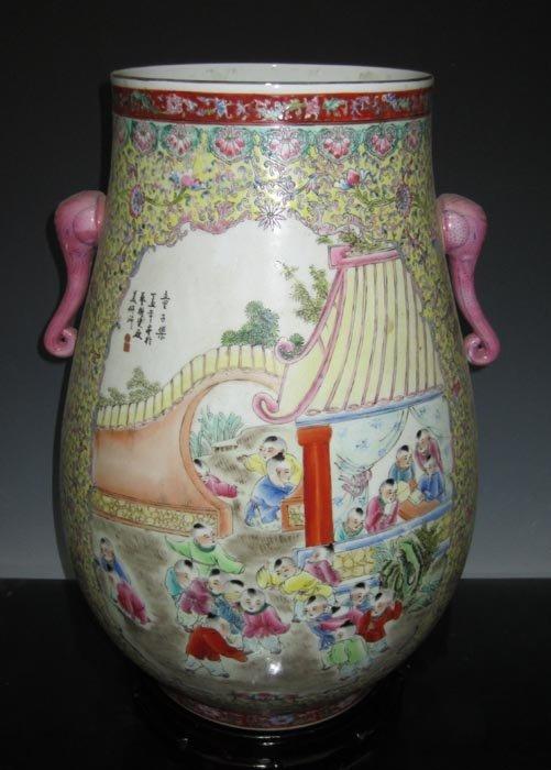 Fine Old Famille Rose Large Porcelain Vase