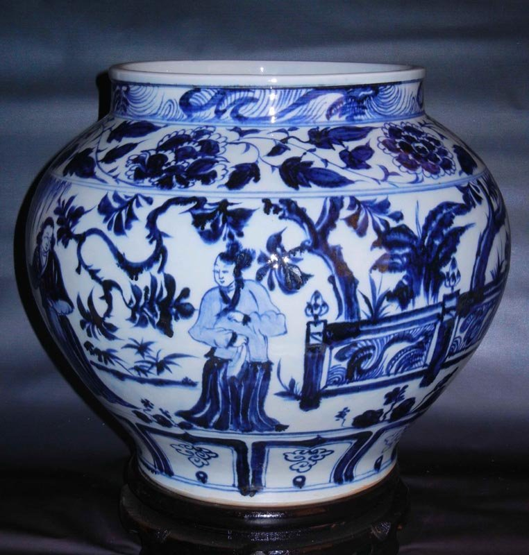 Antique Chinese Yuan Blue and White Figures Porcelain