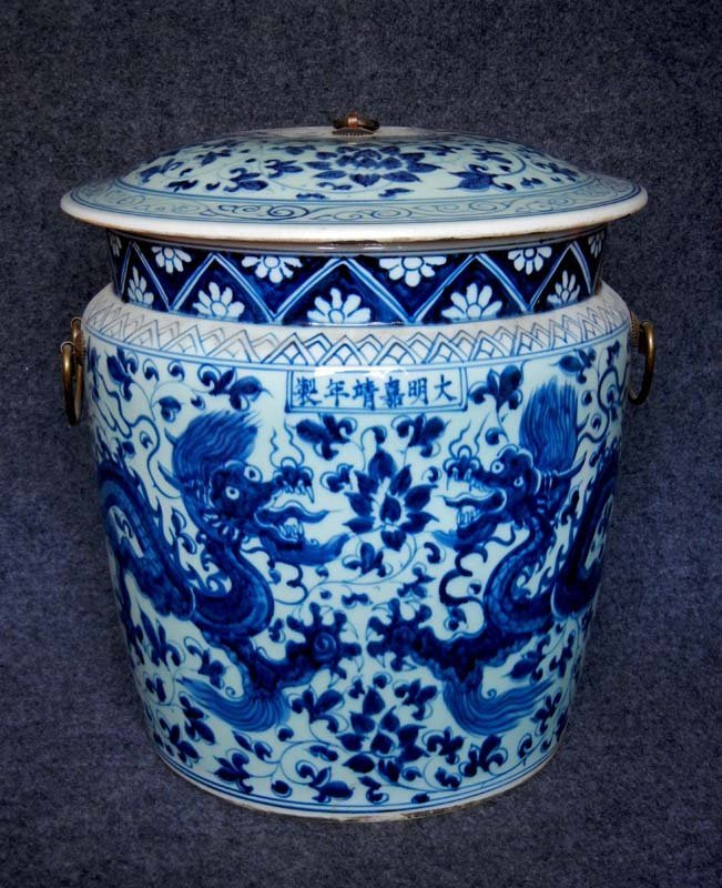 Antique Chinese Ming Blue and White Porcelain Cover Pot