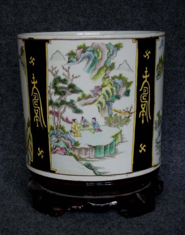 Antique Chinese Qing Famille Rose Porcelain Brush Pot