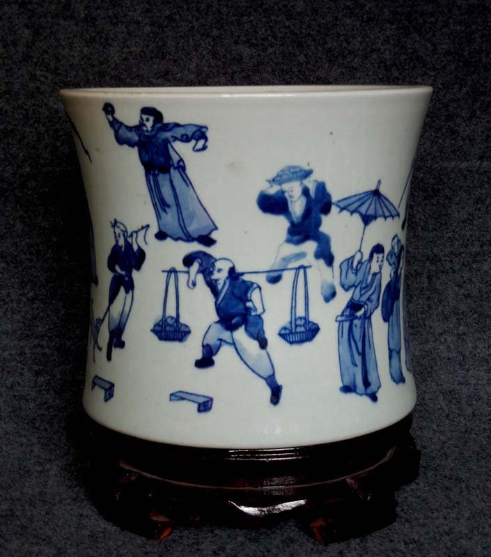 Antique Chinese Qing Blue and White Figures Porcelain