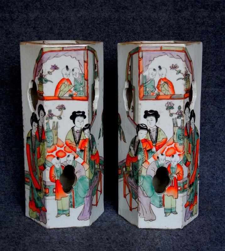 Pair Antique Chinese Qing Famille Rose Porcelain Brush