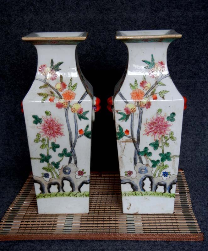 Pair Antique Chinese Qing Famille Rose Sqare Porcelain