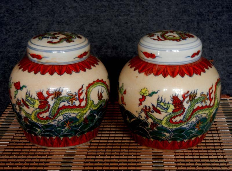 Pair Antique Chinese Ming Blue and White Dou Cai