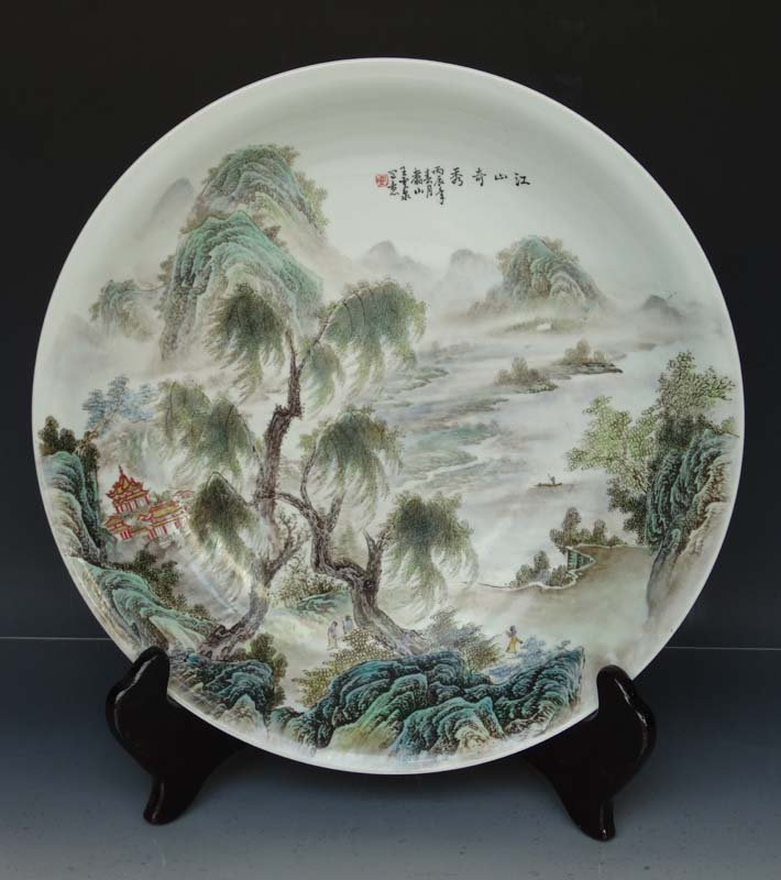 Large Artist Work Chinese Famille Rose Porcelain Plate