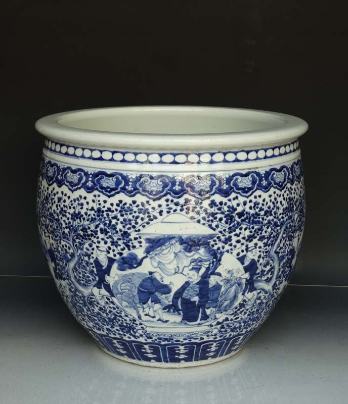 Large Chinese Qing Blue and White Porcelain Fish Pot