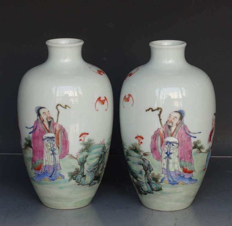 Pair Fine Chinese Qing Famille Rose Porcelain Vases