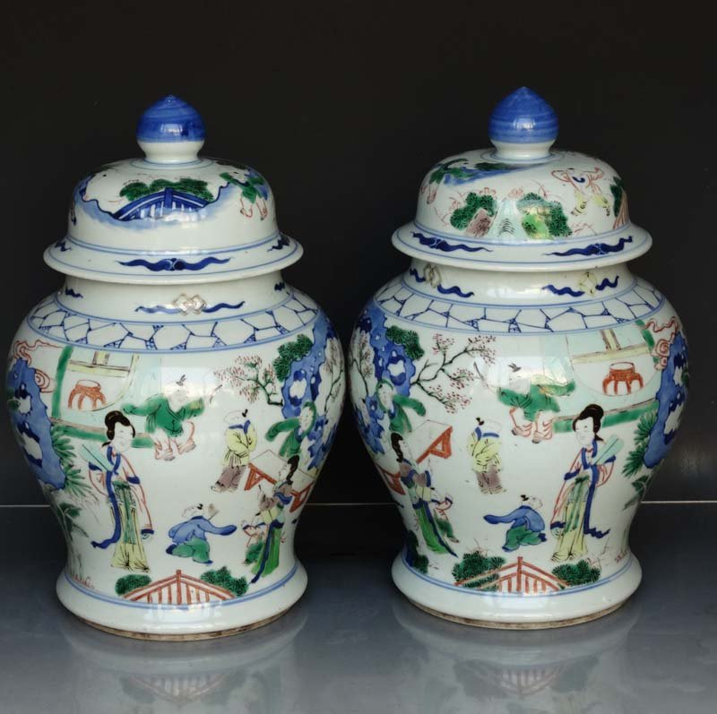 Unique Pair Chinese Qing Famille Rose Porcelain Cover J