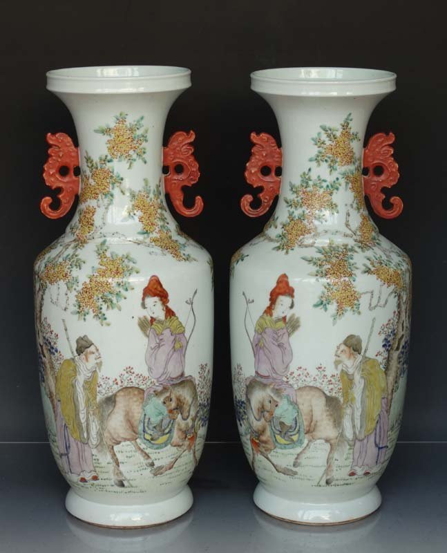 Unique Pair Chinese Qing Famille Rose Porcelain Vases