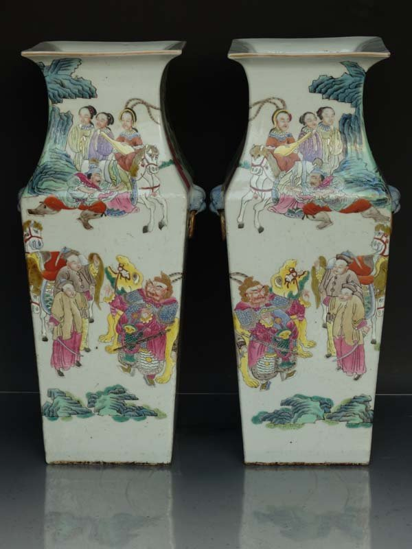 Unique Pair Chinese Qing Famille Rose Square Porcelain