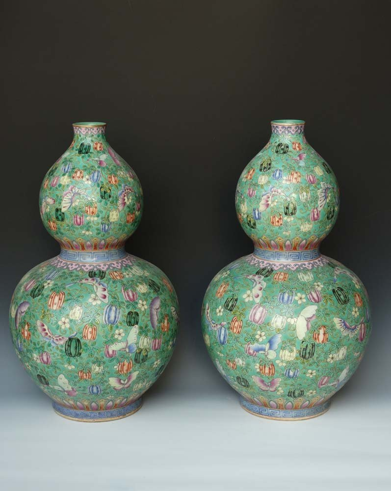 Large Pair Chinese Qing Famille Rose Gilted Hu Lu Vases