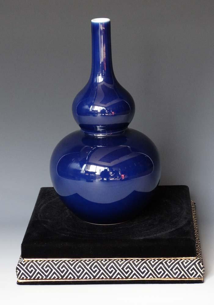 Chinese Qing Mirror Blue Glaze Porcelain Hulu Vase