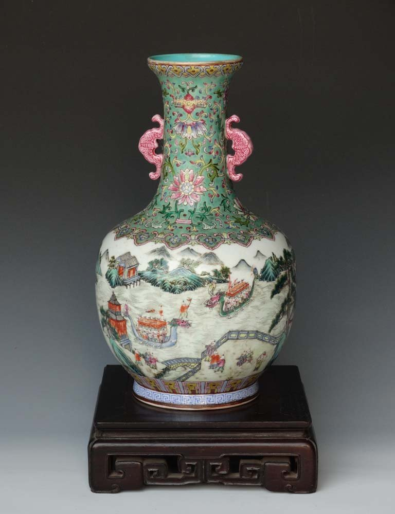 Chinese Qing Famille Rose Gilted Porcelain Vase