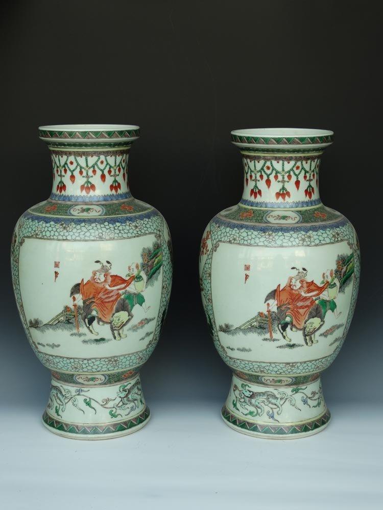 Large Chinese Qing Famille Rose Porcelain Vases