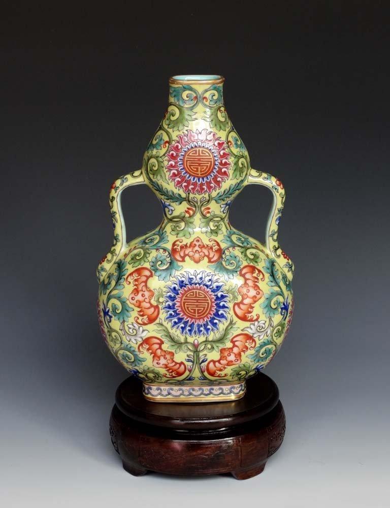 Chinese Qing Enamel Porcelain Moon Flask Vase