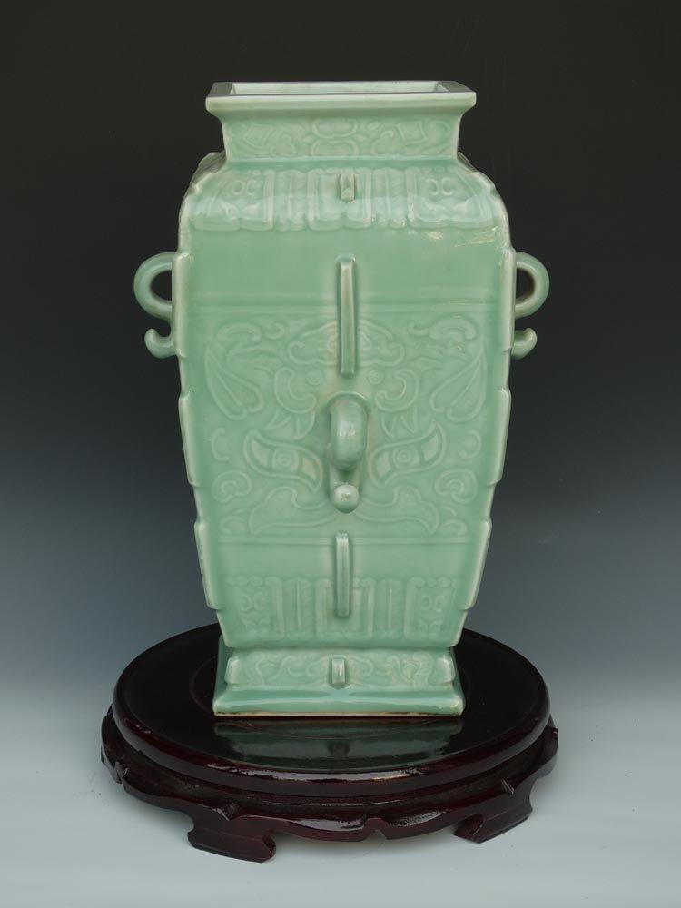 Chinese Qing Ying Qing Glaze Porcelain Square Vase