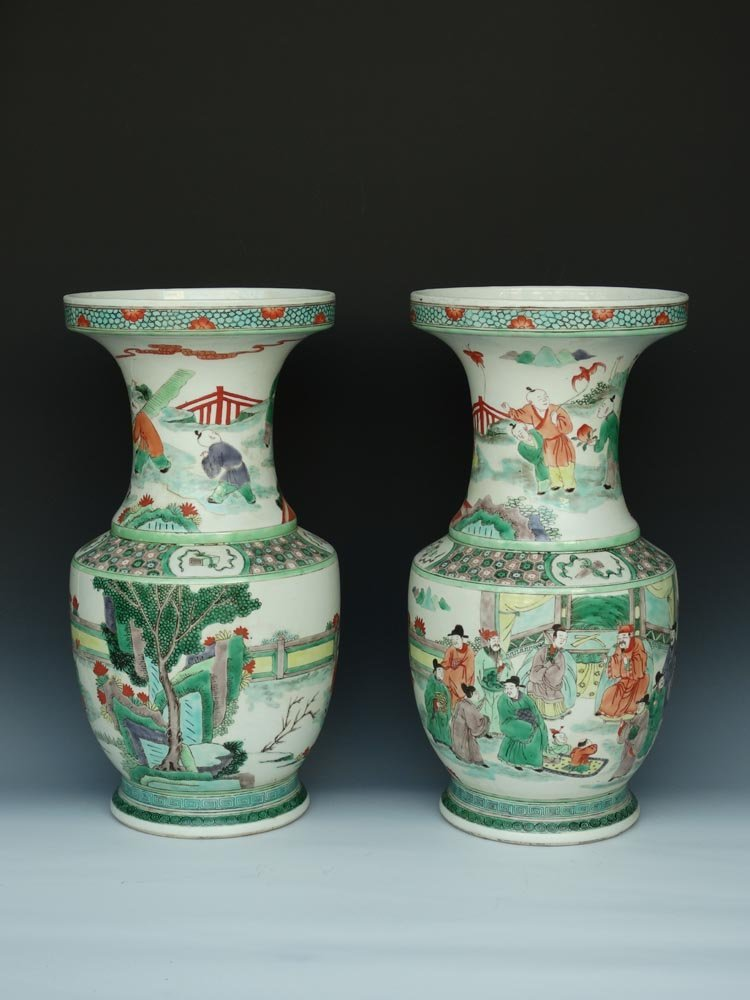 Large Pair Chinese Qing Famill Rose Porcelain Vases