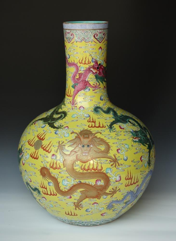 Huge Chinese Qing Famille Rose Porcelain Vase