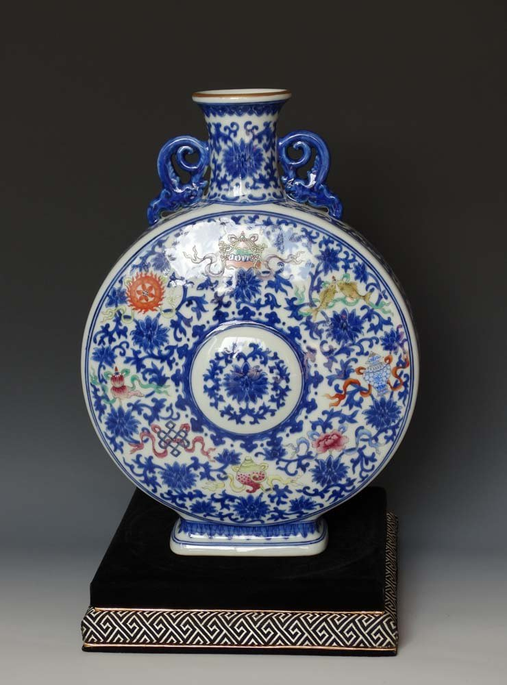 Chinese Qing Blue  White and Dou Cai Porcelain Vase