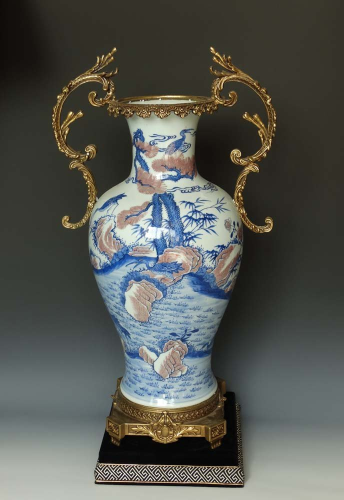 Chinese Qing Export Blue White and Copper Red porcelain