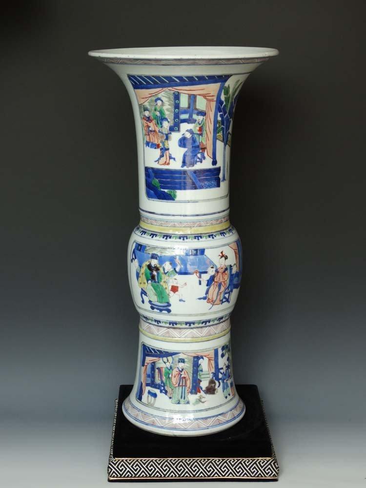 Chinese Qing Blue White and Wu Cai Porcelain Vase