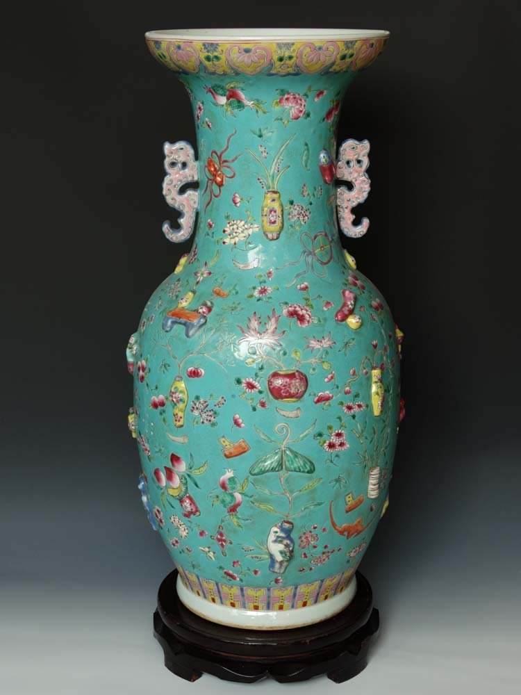 Large Pair Chinese Qing Famille Rose Porcelain Vases
