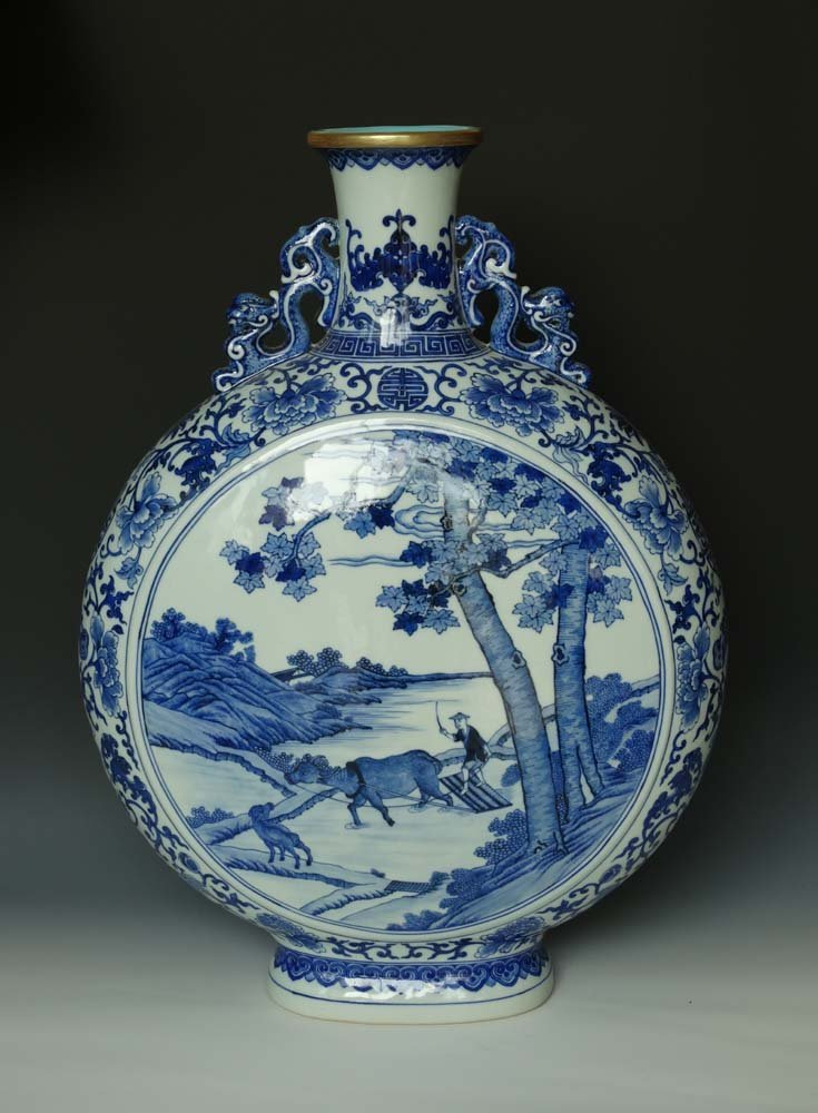 Huge Chinese Qing Blue and White Gilted Porcelain Vase