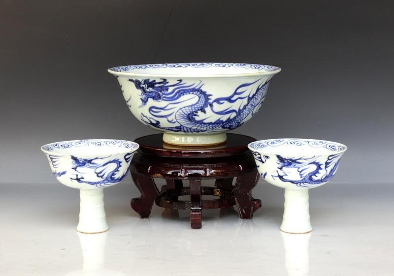 Set of 3 Rare Chinese Yuan B/W Porcelain Bowl and Cups