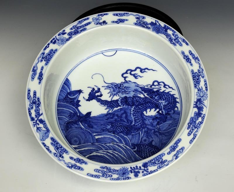 A Fine Chinese Qing Blue and White Porcelain Washer