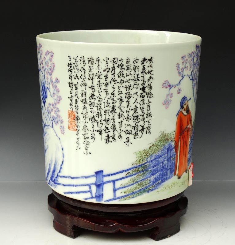 A Fine Chinese B/W and Dou Cai Porcelain Brush Pot