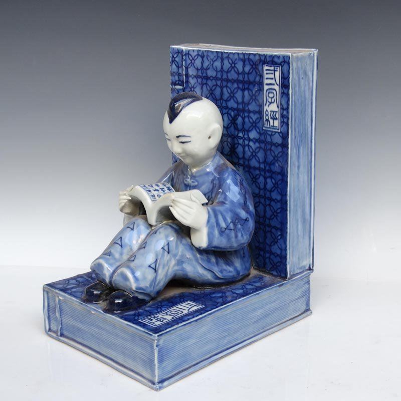 A Unique Chinese Qing  Blue and White Porcelain Statue