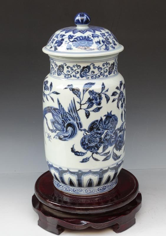 A Unique Chinese Ming Blue and White Porcelain Vase