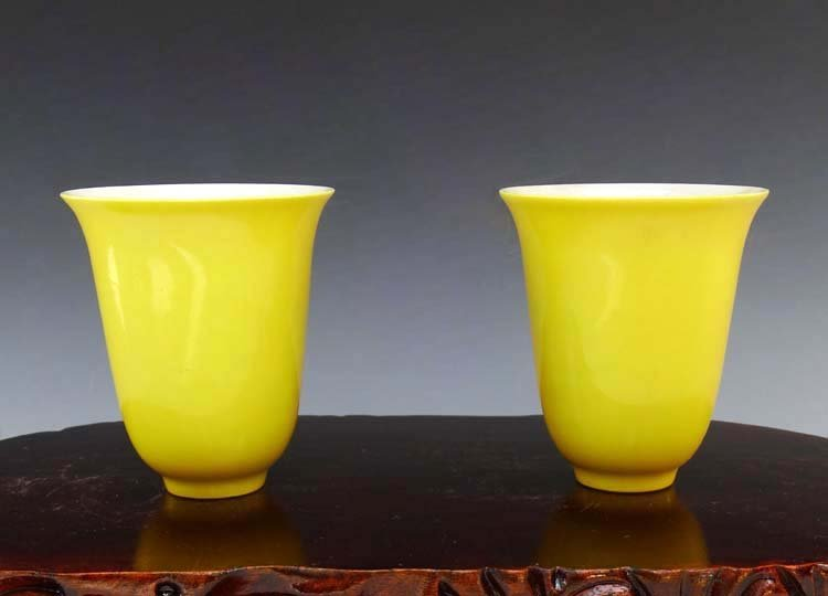 A Chinese Qing Yellow Glaze Porcelain Cups