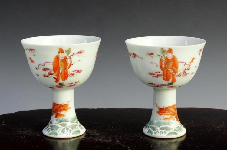 A Pair Chinese Qing Famille Rose  Porcelain Stem Cups