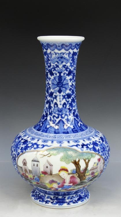 A Chinese Qing B/W and Enamel Porcelain Vase