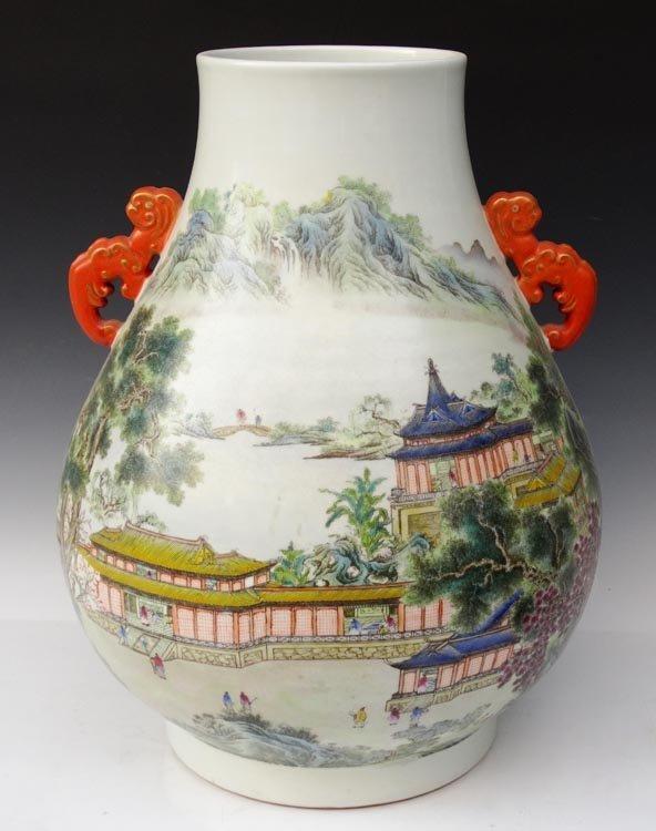 A Large Fine Chinese Qing Enamel Porcelain Vase