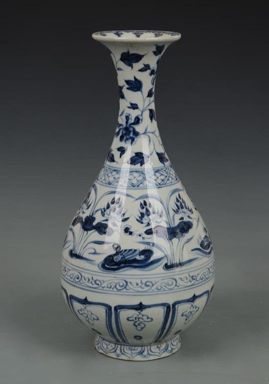 Yuan Dynasty Chinese Blue and White Yuhuchuan Vase