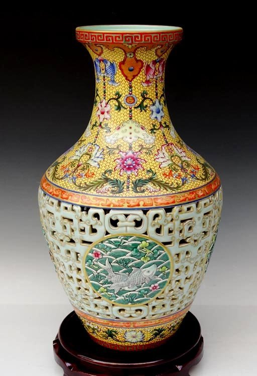 A Fine Carved Chinese Qing Famille Rose Porcelain Vase