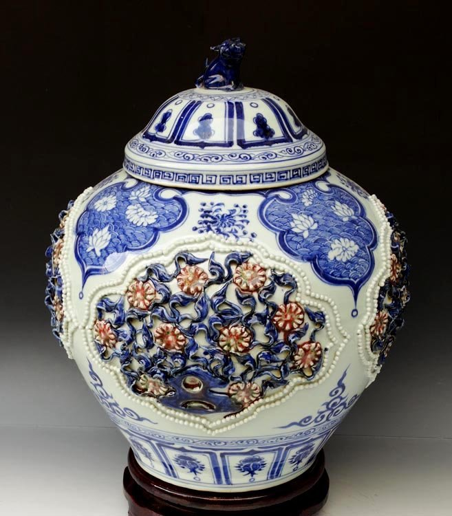 A Large Chinese Yuan B/W and Iron Red Porcelain Jar