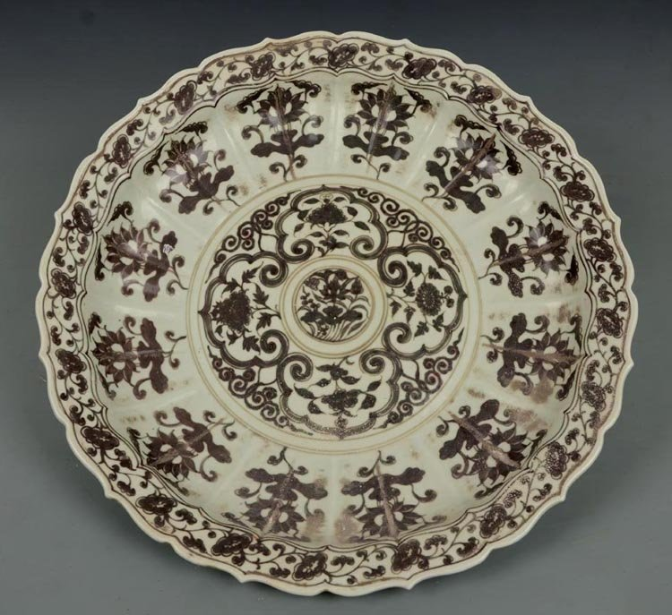 Ming Dynasty Chinese Red Under Glaze Porcelain Plate