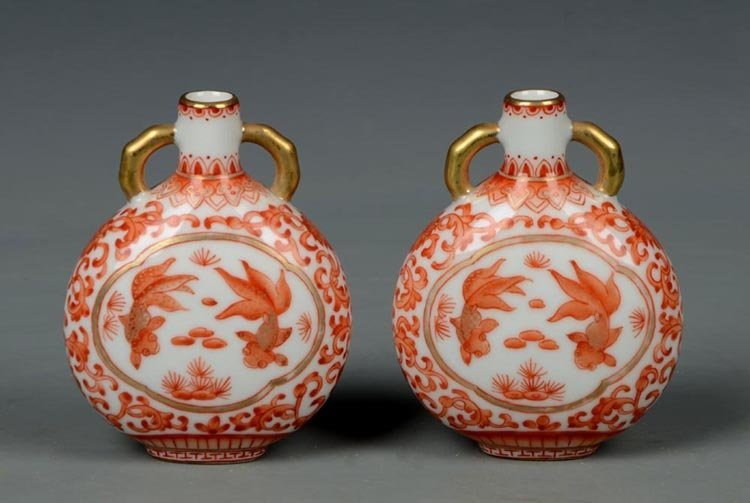 Qing Dynasty Chinese Alum Red Porcelain Snuff Bottle