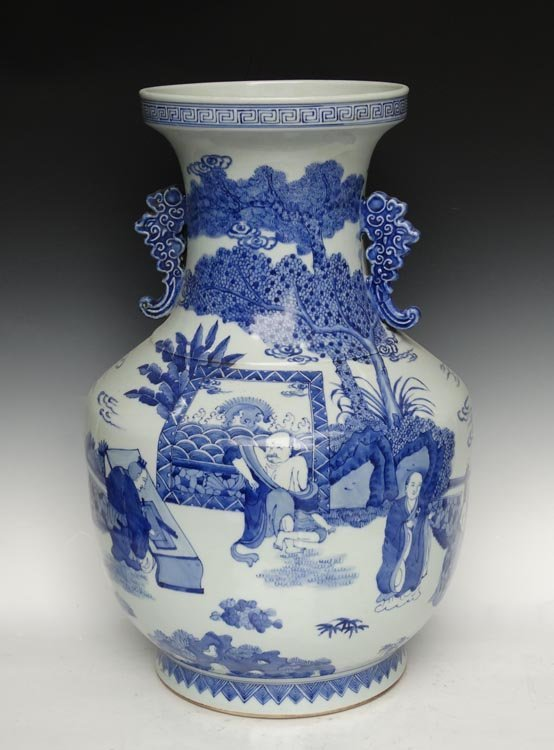 A Large Chinese Qing Blue and White Porcelain Vase