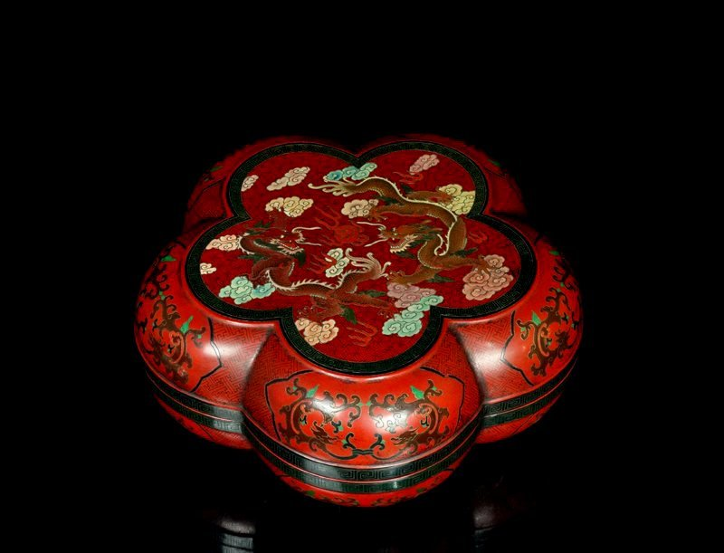 A Chinese Qing Lacquered Fruit Box and Cover