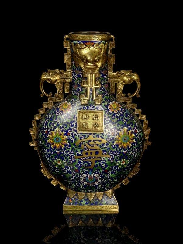 A Large Chinese Qing Cloisonne Enamel Moon Flask Vase