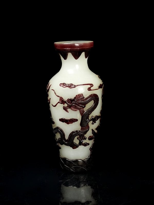 A Chinese Qing Carved Peking Class Dragon Vase