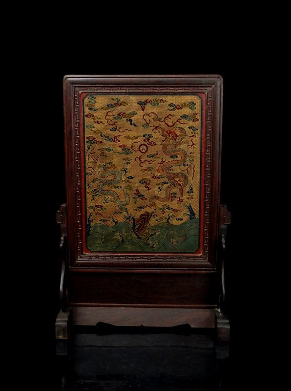 A Chinese Qing Gilted Lacquered Screen Rosewood Framed