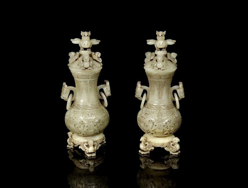 A Pair Chinese Han Dynasty White Jade Vases and Cover