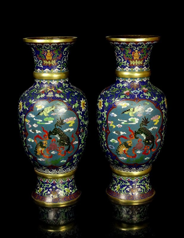 A Pair Large Chinese Qing Cloisonne Enamel Vases