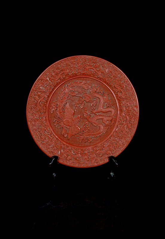 Chinese Qing Cinnabar Lacquer Dragon and Phoenix Plate